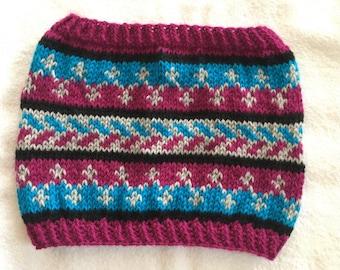 Hand Knit fairisle colourwork cowl in blue, grey and fushia