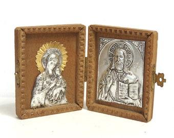 Vintage Madonna Mary & Jesus Christ Icon Diptych/ Metal on Wood Religious Art/ Petite Travel Size