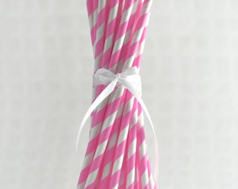 Striped Paper Straws - Pink