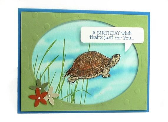66 happy birthday wish turtle aquarium watercolor card with like this item bookmarktalkfo Images