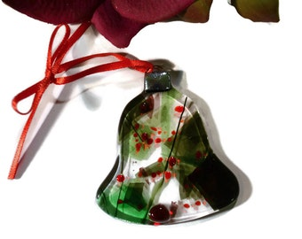 Old Fashioned Christmas Ornament, Fused Glass Bell, Red, Green on Clear Glass Retro