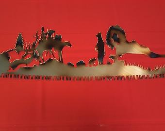 Sawblade Scene - Bears - Rustic Wall Decoration