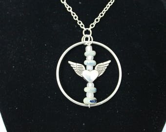 Frosted Aqua Angel Wings Necklace