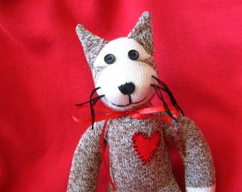 Sock Monkey Kitty Cat Stuffed Animal Doll - Rockford Red Heel Socks