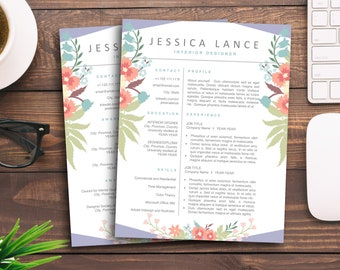 Floral Resume CV Creative Template for Word Feminine Retail Resume Pastel Blue Flower 4 Page Mac PC Cover Letter Unique Downloadable