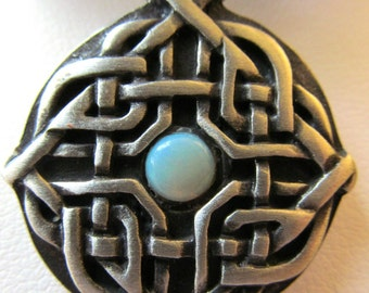 Antiqued Silver Finish Pewter Celtic Knot Pendant Necklace with Australian Opal Cabochon