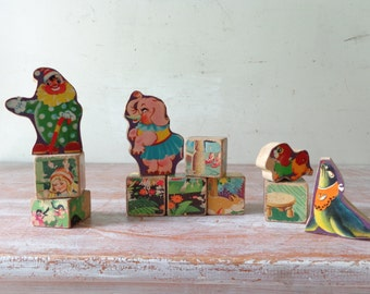Collection of 11 Wooden Childrens Blocks