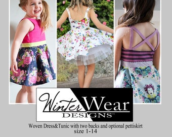 Bateau Garden Dress size 1 -14 for girls, woven spring summer dress with side zip and circle or pleated skirt