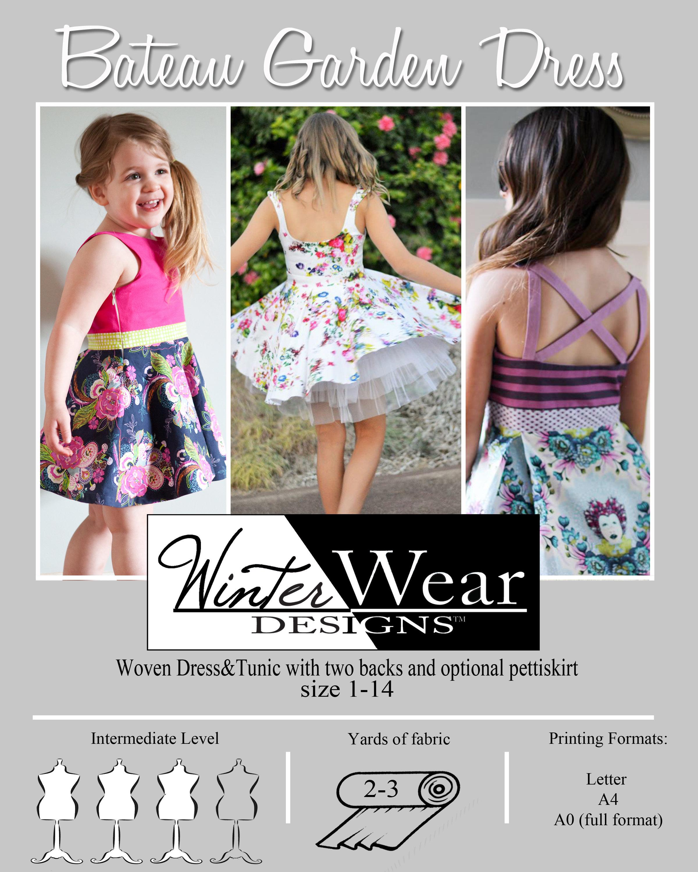 Bateau Garden Dress size 1 14 for girls woven spring summer