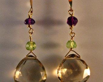 Gemstone dangle earrings,drop earrings,gemstone earrings,gold earrings,amethyst earrings,peridot earrings,birthstone earrings,gemstones