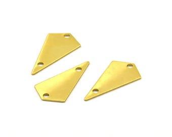 Brass Triangle, 20 Raw Brass Triangle Charms with 2 holes (22x12x0.60mm) U037