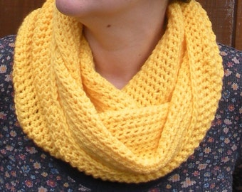 SALE, Sunshine Yellow Cowl Snood, crochet neckwarmer scarf, ready to ship.