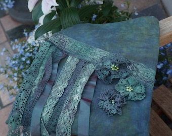 Beautiful blue green bohemian bag with stunning hand dyed lace and doilies