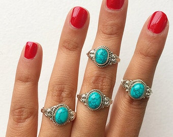 Silver Turquoise Ring * Oval Turquoise Ring * Turquoise * Turquoise Rings * Boho Chic Ring * Turquoise Stacking * Rings * Blue Stone Rings