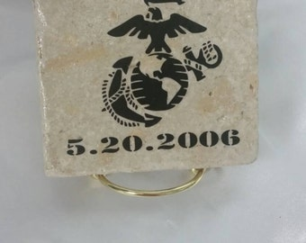 Personalized USMC coasters (set of 4) ~ USMC ~ Marine Corps ~ Housewarming gift ~ USMC Wife ~ Marines ~ custom ~ home decor ~ wedding gift