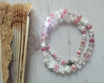 Faceted glass bead vintage necklace, pink white crystal necklace