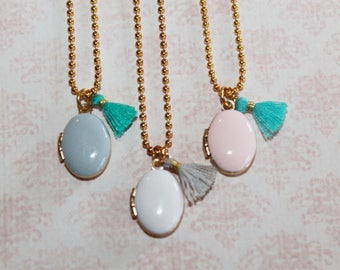 Enamel locket and tassel necklace, perfect for Christmas, Easter, Birthday or anytime gift for a special girl!