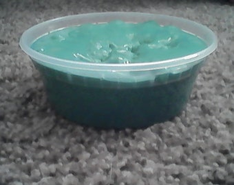 this slime is not used for ads or anything else so get it whill you can.This slime is green with green glitter in it.