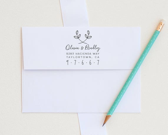 Leaf Address Stamp, Custom Address Stamp, Return Address stamp, Botanical Address Stamp, Personalized stamp, Wedding Invitation stamp gift