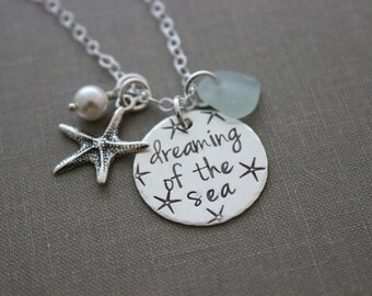 sterling silver genuine sea glass charm necklace - dreaming of the sea - personalized - starfish charm - hand stamped - beach ocean jewelry