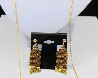 Goldtone Mesh Purse Necklace and Clip Earrings Set