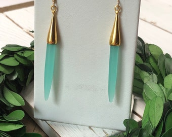 Aqua Chalcedony and Gold Spike Earrings Dangle Earrings Chalcedony Earrings Gifts For Her Gifts Under 20 Jewelry Under 20
