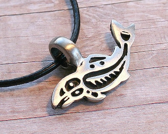 Leather Surfer Necklace Choker Pewter Whale Distressed Cord Totem Pendant