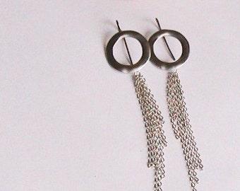 Lange Silber Kette Ohrringe, lange Silber Ohrringe, Sexy, Unique, Spezial, einzigartig, Bridal, Hochzeit, Brautjungfern