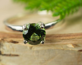 Green Zircon Sterling Silver Ring
