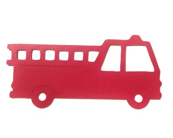"""Fire Truck  - 5"""" Paper Die Cut - place Cards, Birthday Party, Firehouse party, Fire engine, Name tags, Favor tags, Fire department"""