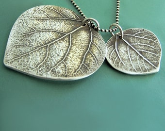 Mother and Child Aspen Leaf Necklace, Large, Sterling Silver, Free Shipping, Last Minute Gift, Gardening Gift