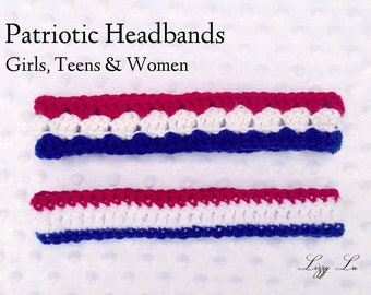 Crocheted Headbands for Women, Teens & Girls, Patriotic, School and Team Colors
