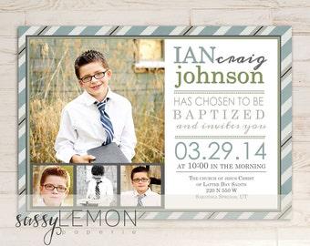 2018 Graduation - Ian Baptism Invitation, LDS Baptism Announcement, Digital, Printable, Stripes