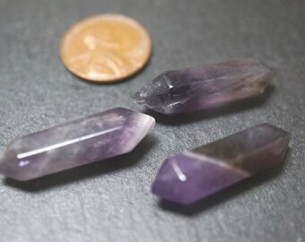 Polished Natural Purple 6 Sides Amethyst Double Terminated Points  - 30mm x 8mm - 2 pieces
