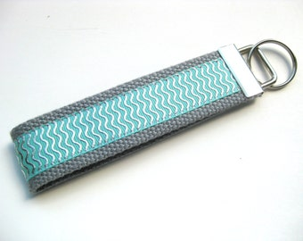 Mint Silver Wristlet Key Fob for Women- Key Chain for Her- Womens KEY FOB- Wrist Keychain- Key Lanyard- Gift for Her- Womens Gift Under 10