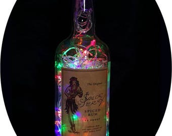Upcycled Sailor Jerry Mood Therapy Liquor Bottle Light w/100 Multi-Color LED's Topped Off with an Asfour 30% Leaded Clear Crystal Prism Ball