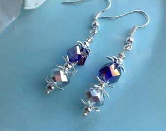 Swarovski earrings, purple earrings, lavender earrings, crystal earrings, beaded earrings, lotus petal earrings, handcrafted, handmade
