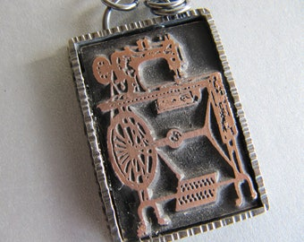Vintage Letterpress Sewing Machine Necklace in Sterling Silver