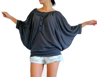 Dark Grey Oversized Tee / Dolman Sleeves Shirt / Slouchy Tee Grey T shirt / Wide Scoop Neck Casual Batwing Gray Blouse - CC TOP020