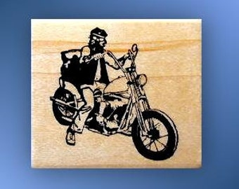 BIKER DUDE Mounted motorcycle rubber stamp Father's Day, masculine, man, person, Sweet Grass Stamps No.14