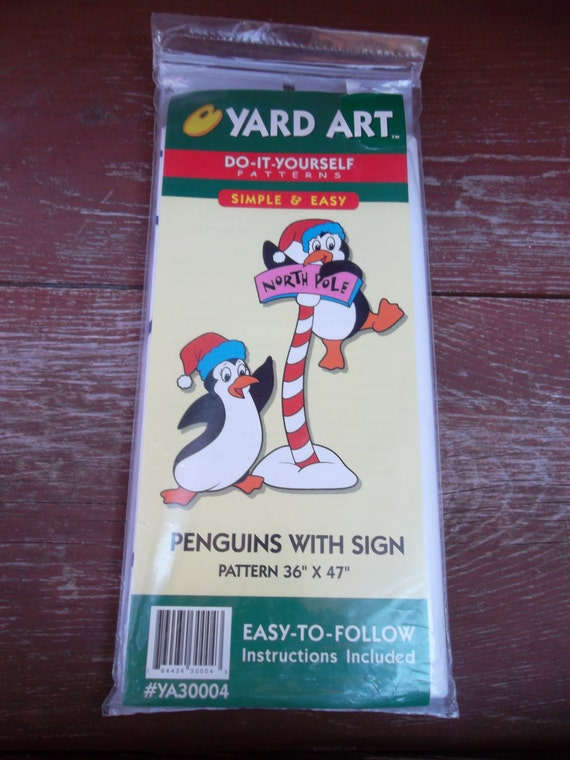 Yard art do it yourself patterns penguins with sign outdoor yard yard art do it yourself patterns penguins with sign outdoor yard decoration instructions 36 x 47 new from moderndayvintage on etsy studio solutioingenieria Choice Image