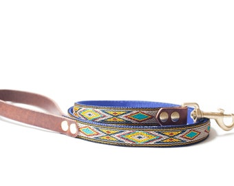 Custom Leather Blue/Yellow/Sand Dog Leash. Navajo Turquoise 3/4""