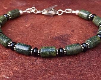 Mens Bracelet, boyfriend bracelet, mens beaded bracelet, Russian Serpentine, men's silver bracelet, mens silver onyx bracelet, father's day