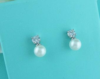 Pearl Stud Earrings, cz pearl earrings, wedding jewelry, bridal jewelry, pearl bridal earrings, flower girl earrings, Carolyn Earrings