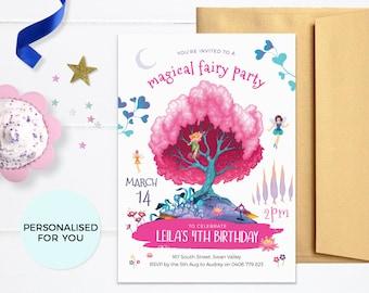 Fairy invitations Printable. Magical Fairy party invites, Fairy tale birthday invitations, Girl birthday invites pdf, Fantasy enchanted tree