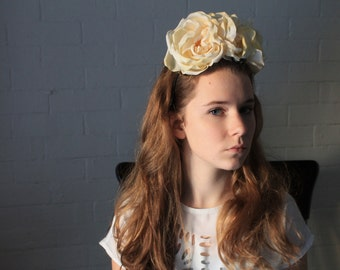 Bridal Flower Crown - Frida Kahlo Silk Rose Headband with Vintage Silk Flowers - Snapchat Floral Crown