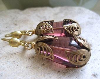 Lady Violet dangle earrings, vintage purple teardrops brass filigree drop earrings, Women of Downton Abbey series,