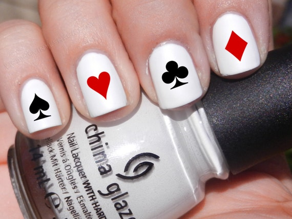 Set Of 52 Poker Symbol Card Designs Vinyl Nail Decal Stickers