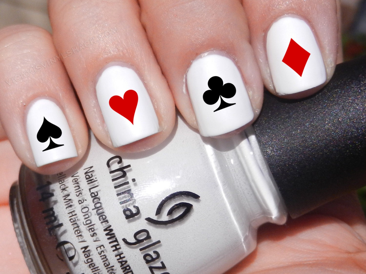 Satz von 52 Poker Symbol Karte Designs Vinyl Nagel Decal