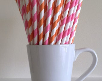 Pink and Orange Striped Paper Straws Party Supplies Party Decor Bar Cart Cake Pop Sticks Mason Jar Straws Graduation